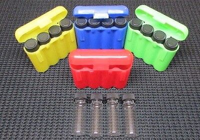 16 - 1 Dram Glass Vials With 4 Carrying Case Storage Case Greenredblueyellow