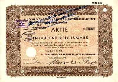 Allgemeine Hoch- und Ingenieurbau AG Düsseldorf hist. Aktie 1935 AHI Bau Strabag