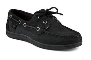 Black Sperry Top Sider women's boat shoe