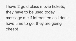 2 x gold class Cinema Tickets Maroochydore Maroochydore Area Preview