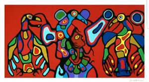 Norval Morisseau Thunderbirds spirit signed lithograph