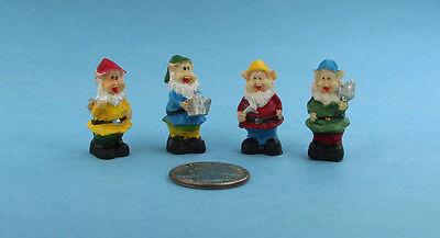 Set of 4 Dollhouse Miniature/Fairy Garden Gardening Gnomes #S4794