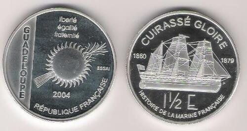 Rare 2004 French Guadeloupe Large 1 OZ Silver Proof 1.5 euro Essai- Navy Ship