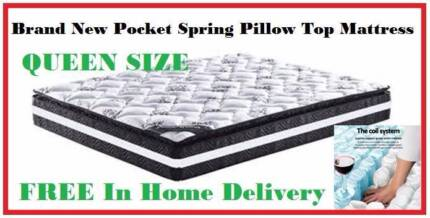 FREE DELIVERY QUEEN Size Pocket Spring Pillow Top Mattress NEW!!