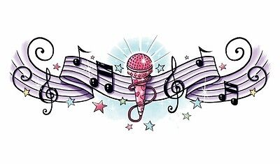 ROCK STAR MUSICAL NOTES LOWER BACK Temporary Tattoo CLEARANCE](Rockstar Tattoo)