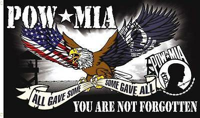 HUGE POW MIA ALL GAVE SOME / SOME GAVE ALL  AMERICAN EAGLE FREEDOM FLAG 3 X 5