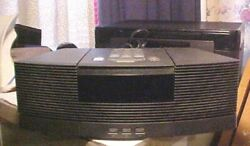 Working Black BOSE Wave CD Player AM/FM Radio Alarm Clock w/ Pedestal Base