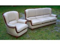 Cream leather sofa suite 3+1, £100