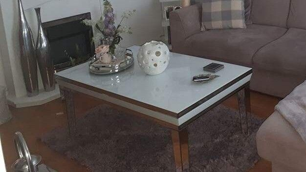Large White Gl And Mirror Coffee Table