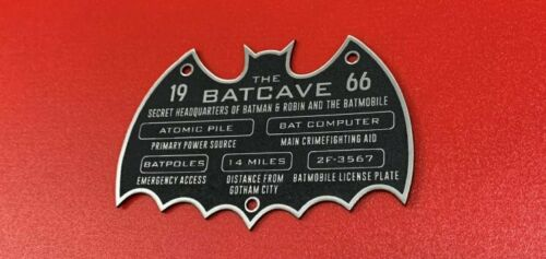 CUSTOM 1966 BATCAVE DISPLAY PLACARD PLAQUE BATMAN TV SERIES BATMOBILE