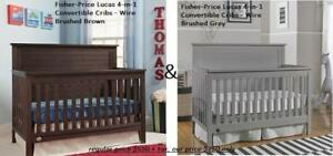 *NEW* Fisher-Price Lucas 4-in-1 Convertible Cribs - Wire Brushed Brown & Grey