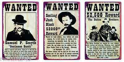 Wild West Wanted Poster TIN SIGN SET rustic vtg western bar metal wall decor lot - Western Wanted Sign