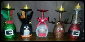 Handmade Glitter christmas decorations candle holders