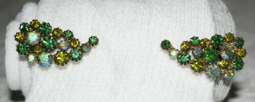 Vintage Green AB Rhinestone Juliana Climber Clip Back Earrings