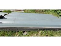 54 box profile metal plastisol roofing sheets,various sizes, used, plus clear panels,etc £99 ono.