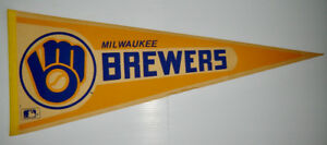 1980's Full Size Stiff Felt Pennant - Milwaukee Brewers