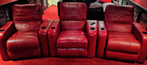 Red Full Grain Leather Home Theatre Seats (3 Separate)