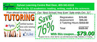 Tutoring! Lower the cost and raise your grade. SAVE 75%.