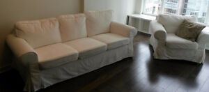 MATCHING IKEA EKTORP SOFA AND CHAIR-LOFALLET BEIGE