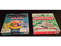 Trivial Pursuit Family Edition and Monopoly board games