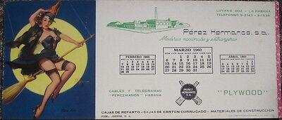 Pinup 1960 Blotter-Elvgrin/Artist-Signed: Havana, Cuba Lumber- Halloween / Witch