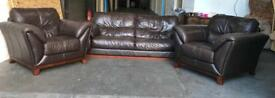 Huge brown leather 3pc sofa set Can deliver