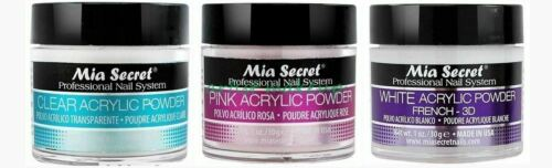 Mia Secret Acrylic Nail Powder 3D White, Pink, Clear - 1 oz Bottle -MADE IN USA