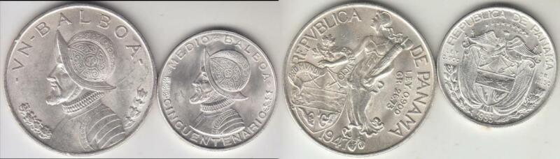 1947 PANAMA BALBOA AND 1953 HALF BALBOA CHOICE BU