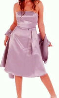 4 Brand New Lilac Short Satin Bridesmaid Dresses With Shawl