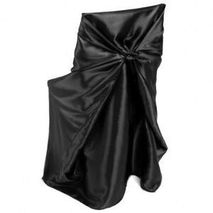Black satin universal chair covers - lot for sale