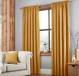 Jennings Ochre Thermal Pencil Pleat Curtains (Dunelm)