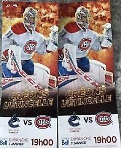 Canadiens vs Vancouver Canucks - Dimanche 7 janv. 19h