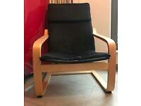 IKEA Poäng armchair, oak veneer, black