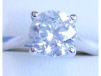 DIAMOND SOLITAIRE ENGAGEMENT RING - 1ct diamond set in 18ct white gold