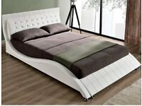 Double bed white leather sleigh