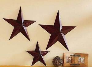 Set Of 3 Star Stars Country Rustic Metal Wall Decor Trio