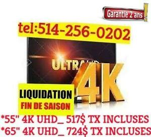 ***FREE SUPPORT TV  TV 65 pouces 4K  UHD GARANTI 2 ANS A SEULEMENT 629.99$ TV 4K ULTRA HD