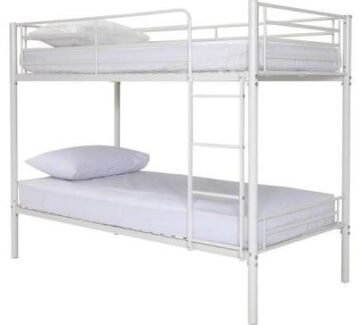 White steel bunk beds