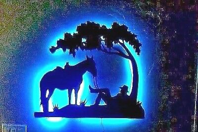 Cowboy & Horse under Tree metal wall art 30