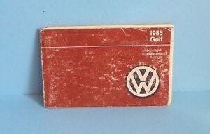 85 1985 VW Golf owners manual