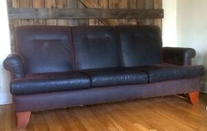 Three Seater Leather Couch - Plum