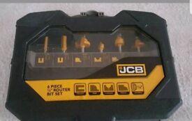 JCB 6 piece quarter router bit set