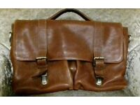 HIGH QUALITY Soft Brown Italian Leather Briefcase/Satchel with Shoulder Strap