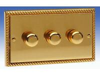 Contactum 3 Gang 2 Way 400w Push On / Off Dimmer - Georgian Brass