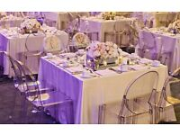 Wedding and event planing and decoration centrepiece hire, chaircovers hire, led dance floor hire
