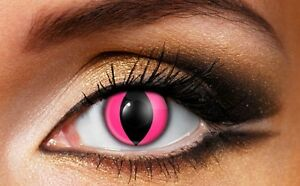 New in box Pink Cat's Eye glow in dark contract lens
