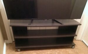 Wide rolling TV stand