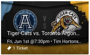 Hamilton Tiger-Cats June 1st Game Ticket