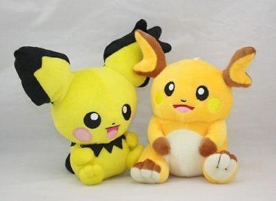 2x Pokemon Raichu & Pichu Pikachu Character Stuffed Animal D