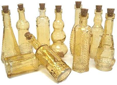 """Vintage Glass Bottles w/ Corks Set 10 Designs 5"""" Tall AMBER wedding favor NEW"""